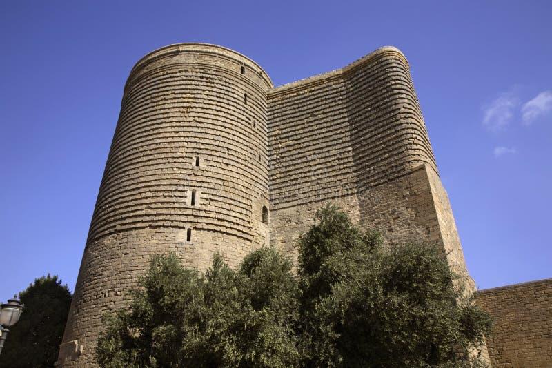 少女塔(Giz Galasi)在巴库 阿塞拜疆 免版税库存照片