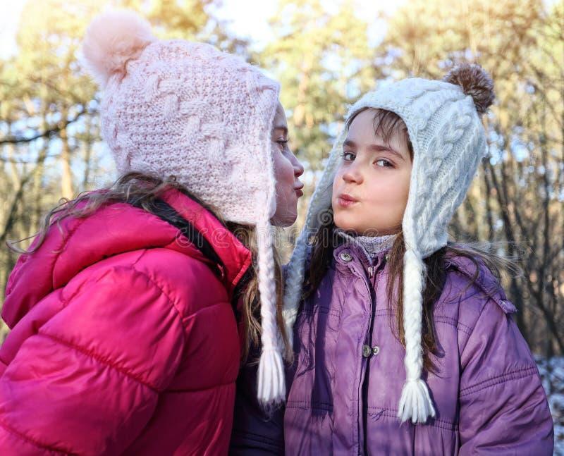 少女女朋友在冬日 免版税库存图片