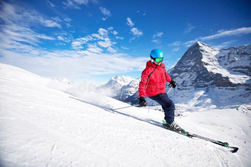 少女峰瑞士滑雪高山山区度假村,格林德瓦,瑞士 库存图片