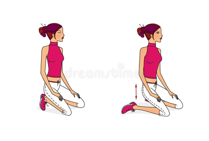 少女执行舒展肌肉,开发的呼吸和灵活性的锻炼从坐,说谎和站立 库存例证