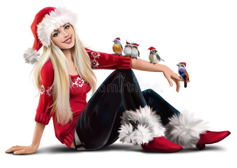 少女的雪和小的鸟 皇族释放例证