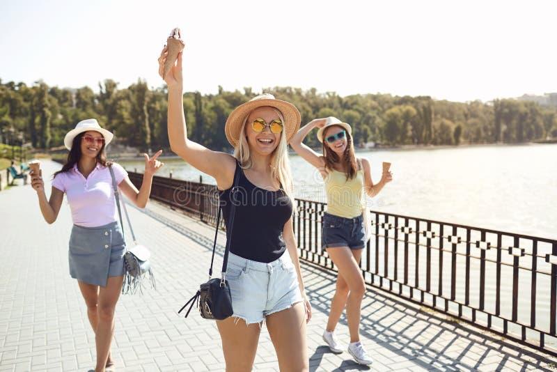 少女获得乐趣在公园在夏天 免版税库存图片