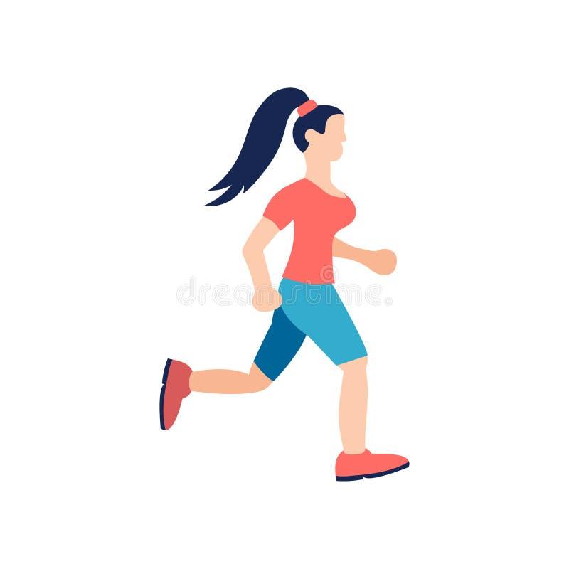 少女跑 Lifstyle fitnes字符 向量例证