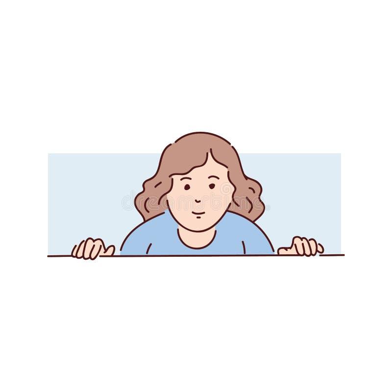 少女,妇女,一件蓝色毛线衣的少年从窗口看下来从后面 向量例证