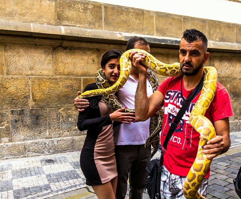 少妇做与一个巨大的黄色蟒蛇蛇缩窄器的ande人照片在脖子,老镇,布拉格,捷克 免版税库存照片