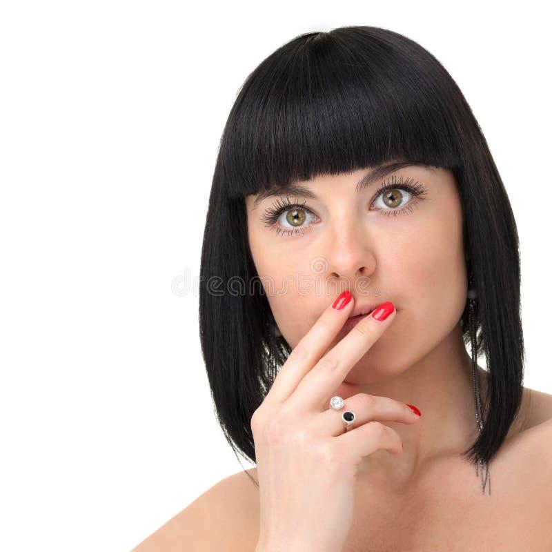 少妇关闭的美丽的面孔,隔绝在白色背景 免版税库存图片