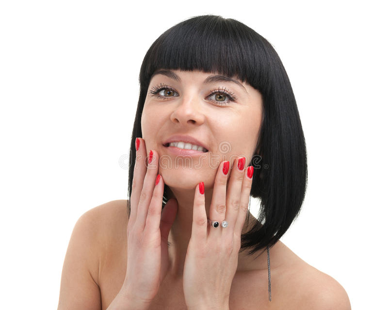 少妇关闭的美丽的面孔,隔绝在白色背景 库存图片