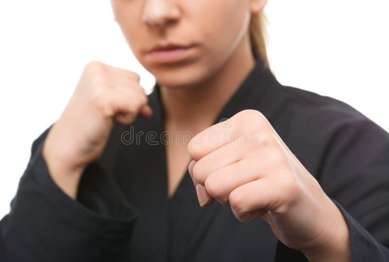 少妇准备战斗 免版税库存照片