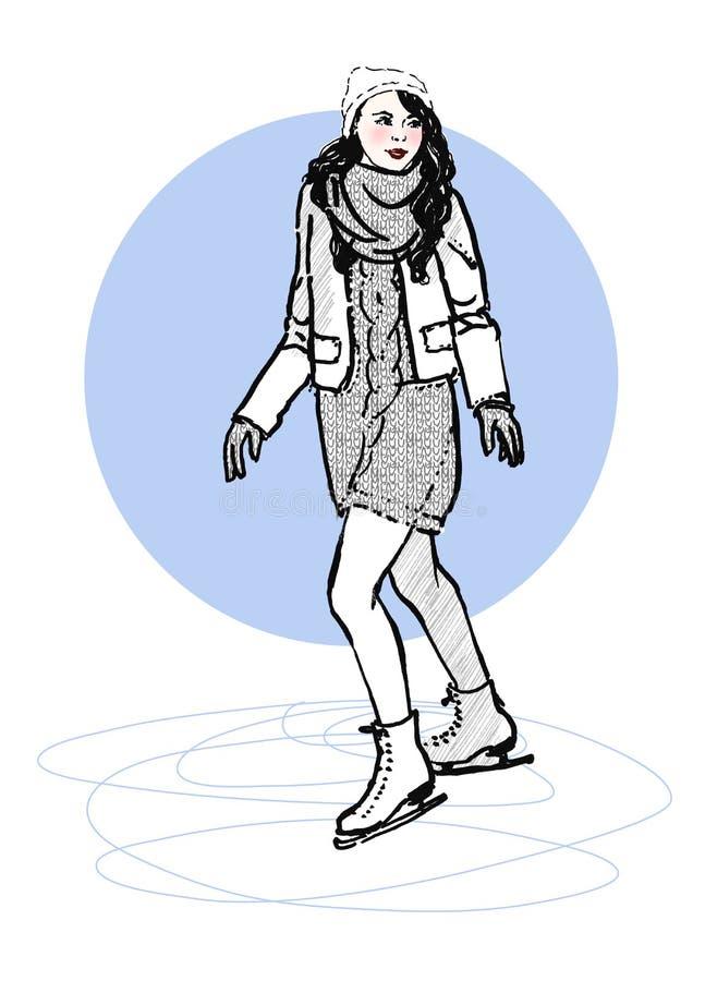少妇剪影一滑冰场的便装样式的 象查找的画笔活性炭被画的现有量例证以图例解释者做柔和的淡色彩对传统 向量例证
