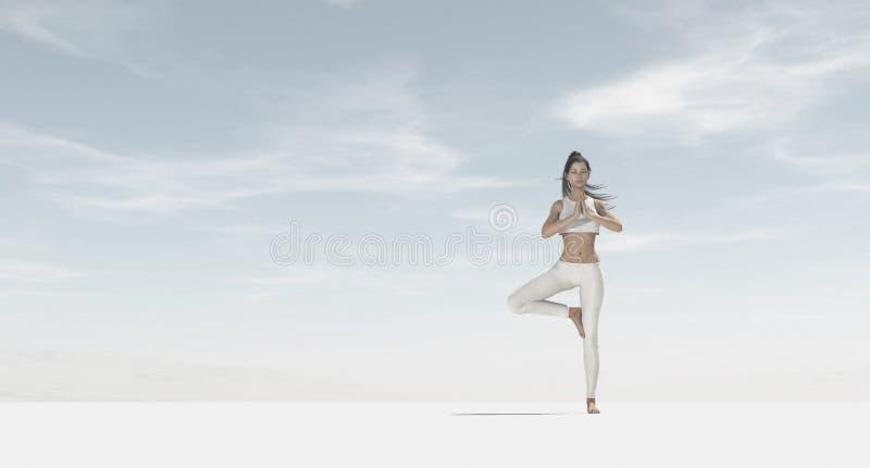 少妇剪影实践的瑜伽 库存例证