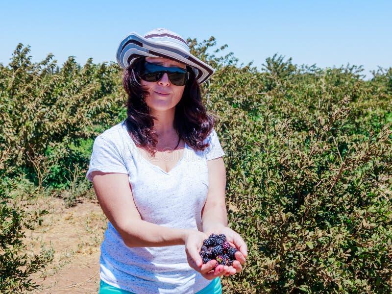 少妇在她的手上站立并且拿着红色和黑醋栗几个成熟莓果在绿色灌木背景的  免版税库存照片
