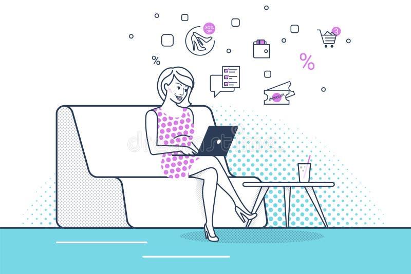 少妇在家坐与膝上型计算机一起使用和使用新的电子商务服务的长沙发 向量例证