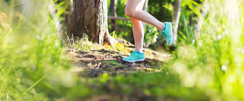 少妇在日落光的夏天森林里跑 库存图片