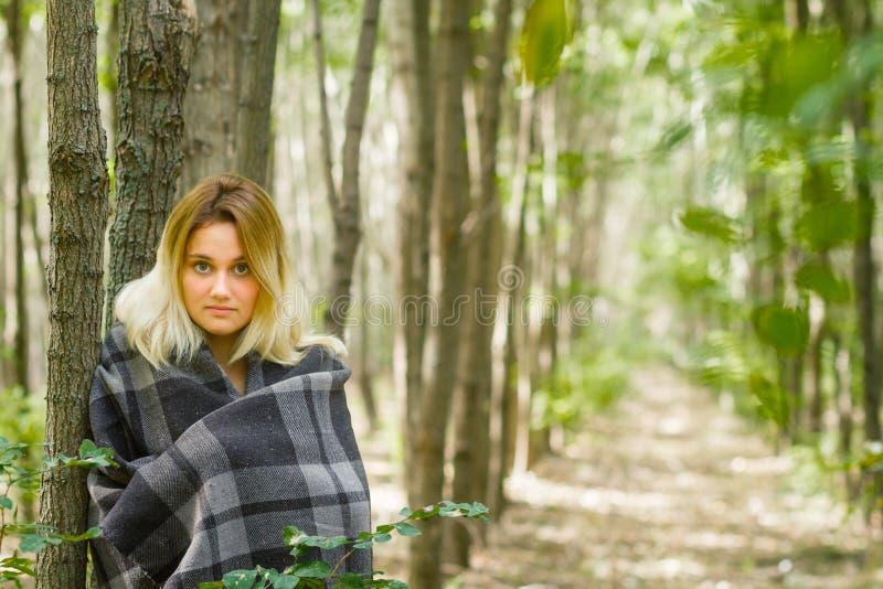 少妇在森林里 库存图片