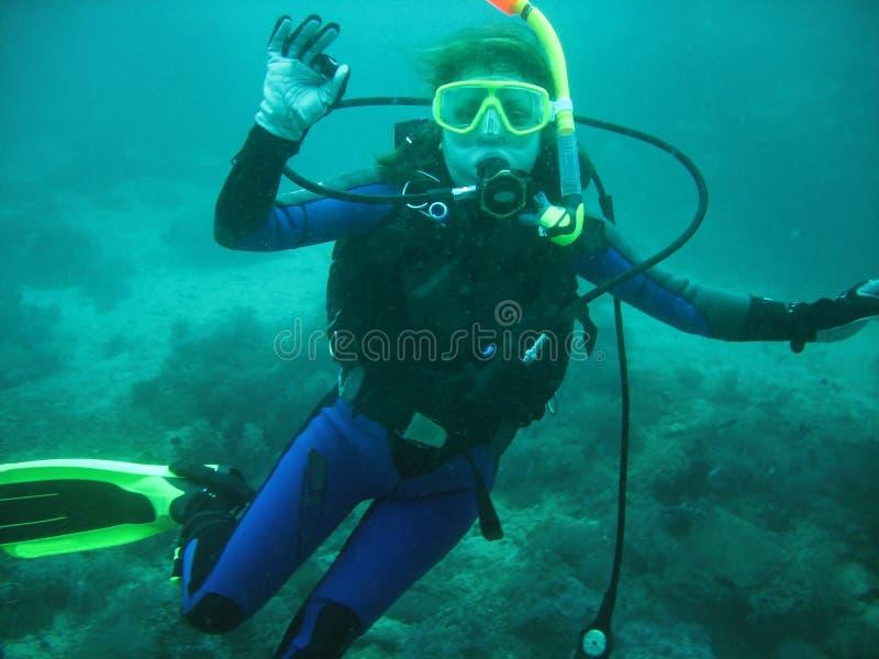 少妇在水下的轻潜水员画象  她是在充分的佩戴水肺的潜水设备:面具,管理者, BCD 她显示O 免版税库存图片