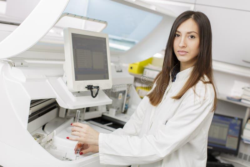 少妇在现代医学实验室 库存图片