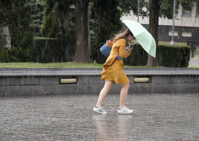 少妇在突然的春天阵雨期间的伞下 库存图片
