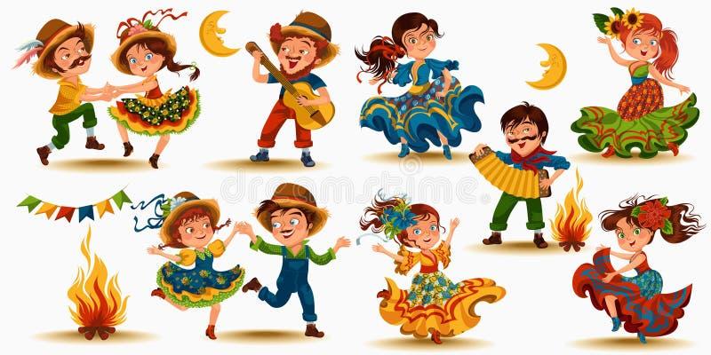 少妇在节日的跳舞辣调味汁在葡萄牙Festa de圣若昂,在sanfona的人戏剧庆祝了在篝火附近 向量例证