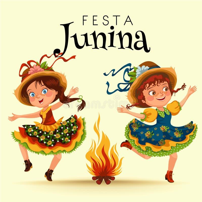 少妇在节日的跳舞辣调味汁在葡萄牙Festa de圣若昂,草帽传统节日的女孩庆祝了 皇族释放例证