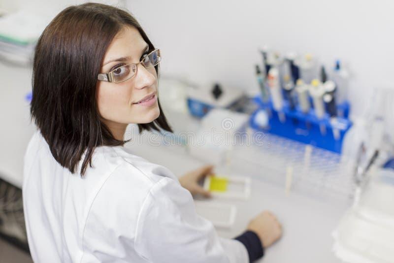 少妇在医学实验室 库存照片