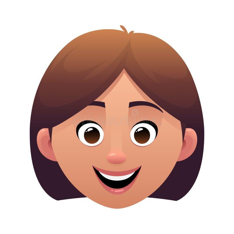 少妇头具体化动画片面孔字符 皇族释放例证