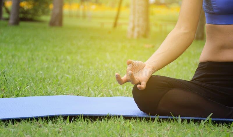 少妇实践的瑜伽在公园,舒展和灵活性,为健康和放松实践了 库存照片