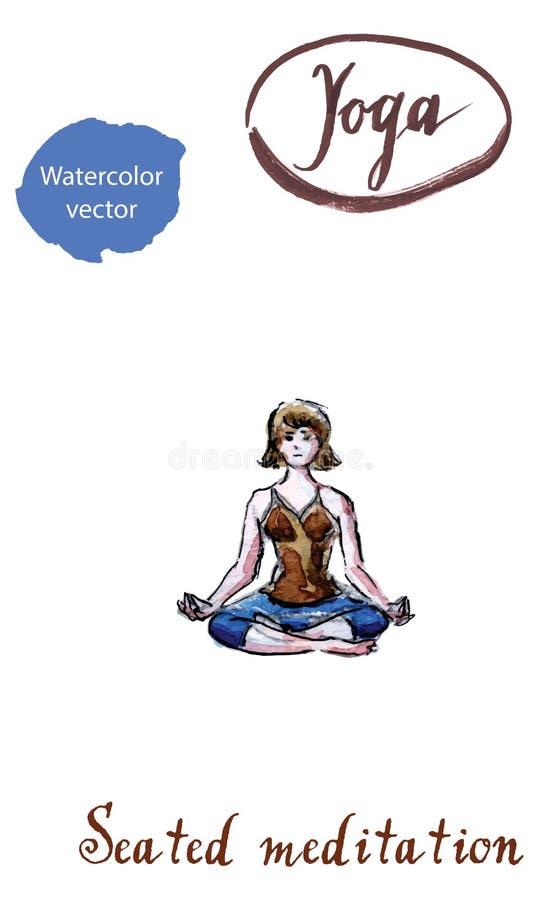少妇实践的瑜伽,坐在Ardha Padmasana锻炼 向量例证