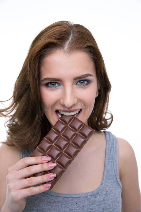 少妇尖酸的巧克力块 库存图片