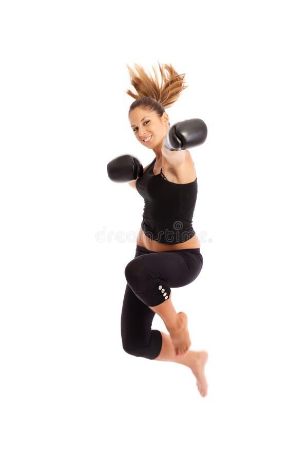 少妇拳击 免版税库存照片
