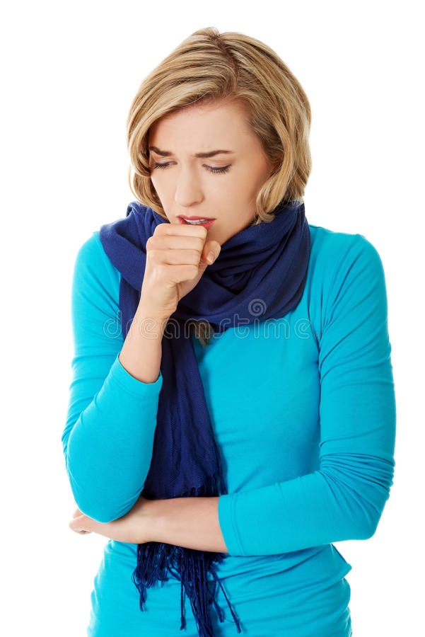 少妇有流感 库存图片
