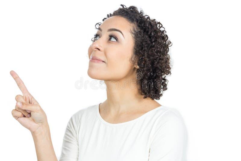 少妇查寻并且指向与她的在同一dir的手指 库存图片
