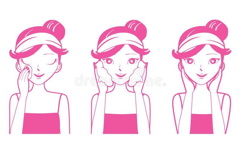 少妇清洁,洗涤物和关心她的面孔 向量例证