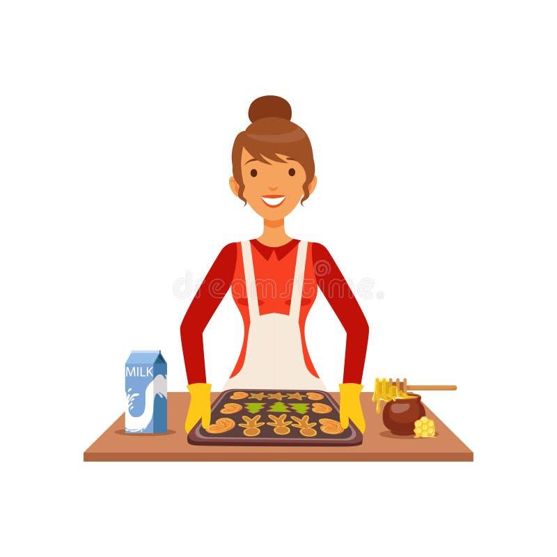 少妇烘烤曲奇饼,烹调在厨房平的传染媒介例证的主妇女孩食物 向量例证