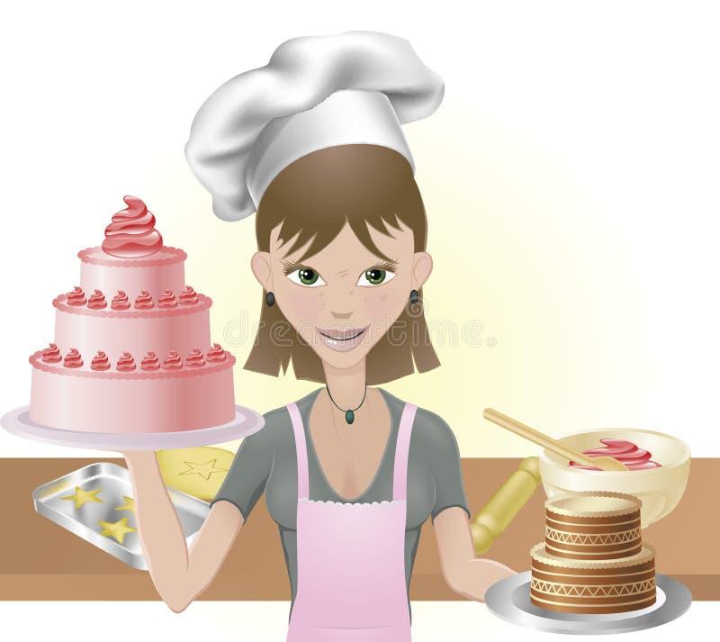 少妇烘烤蛋糕和曲奇饼 向量例证