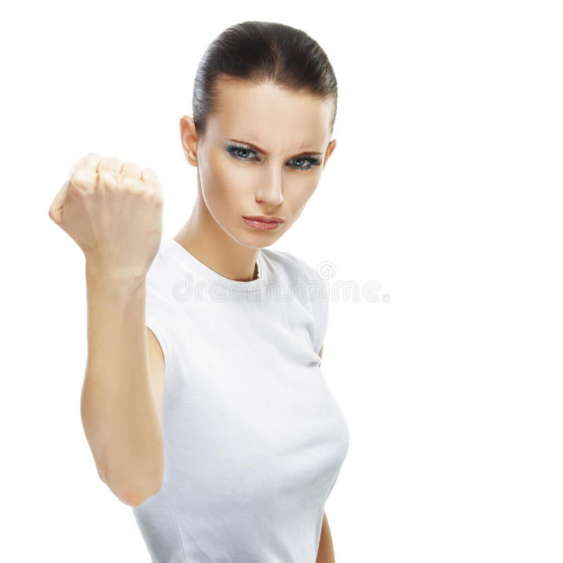 少妇特写镜头威胁拳头 库存照片