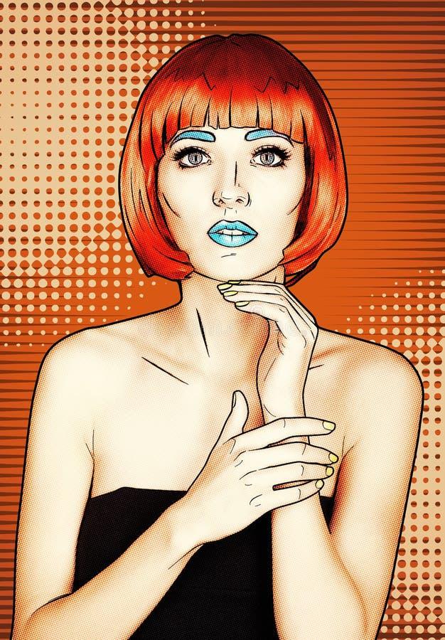 少妇画象可笑的流行艺术构成样式的 女性我 向量例证
