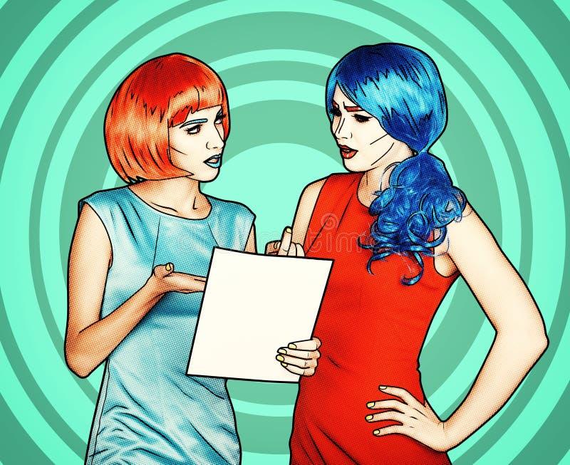 少妇画象可笑的流行艺术构成样式的 女性读信 向量例证