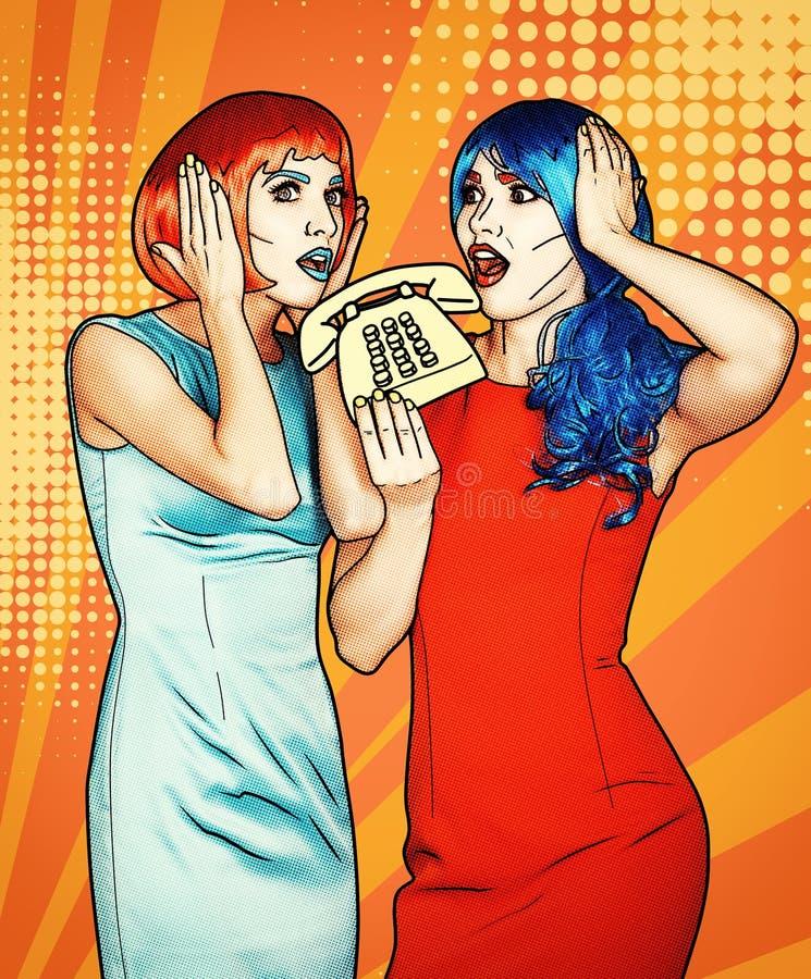 少妇画象可笑的流行艺术构成样式的 红色和蓝色假发的女性在电话叫 皇族释放例证