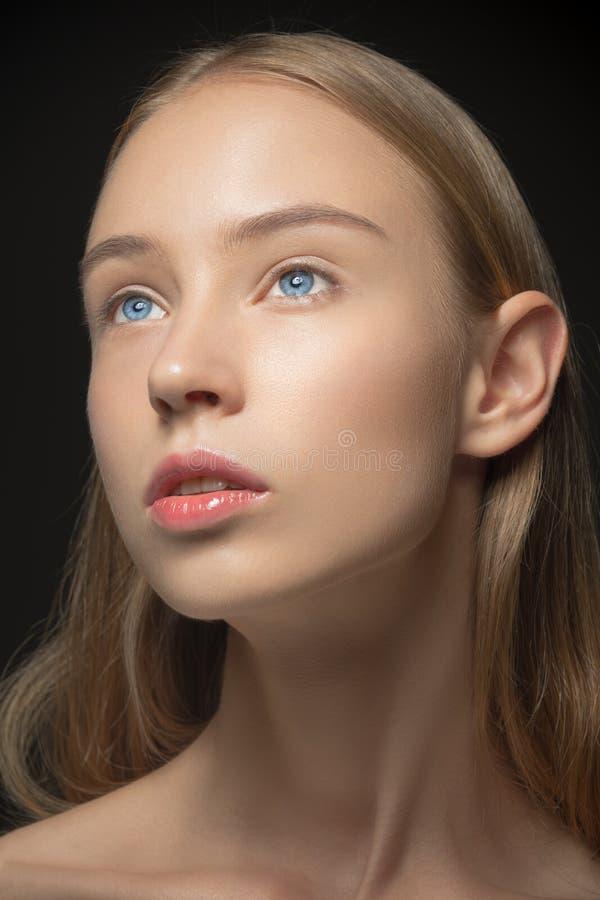少妇的美丽的面孔有干净新鲜的 图库摄影