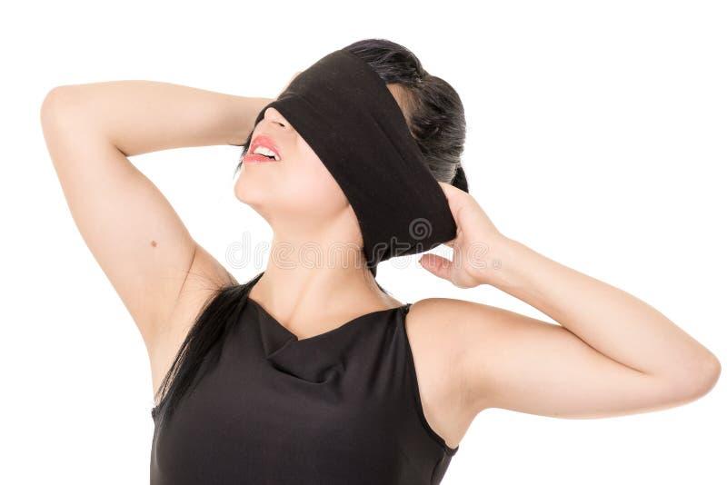 少妇眼罩的画象,被隔绝 免版税库存照片