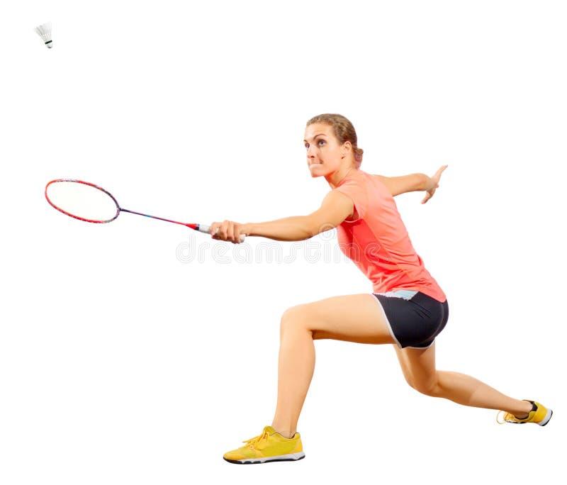 少妇羽毛球与shuttlecock的球员版本 免版税图库摄影