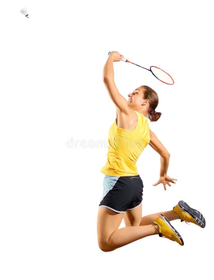 少妇羽毛球与shuttlecock的球员版本 免版税库存照片