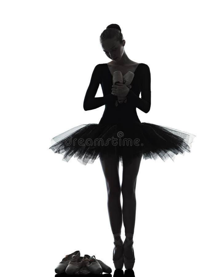 少妇芭蕾舞女演员跳芭蕾舞者跳舞剪影 免版税图库摄影