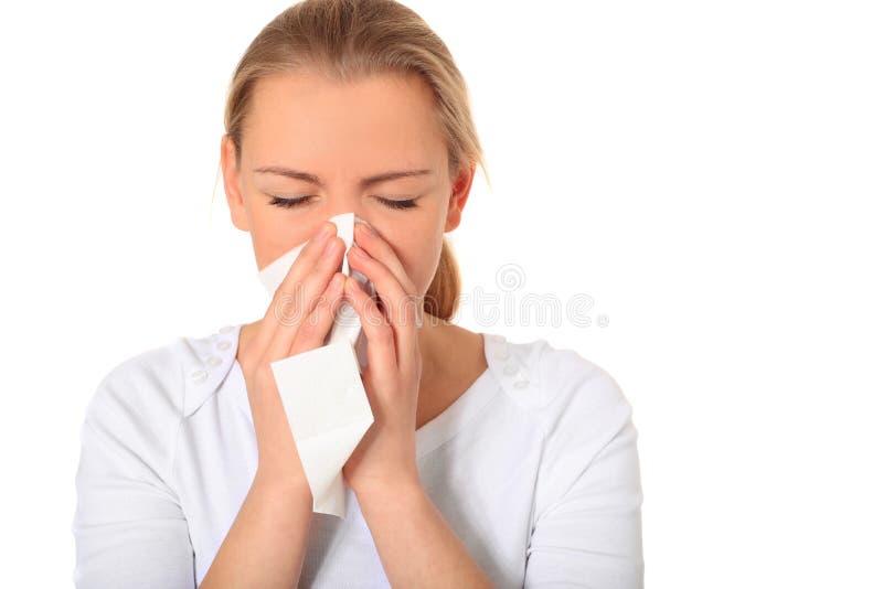 少妇获得了流感 库存图片