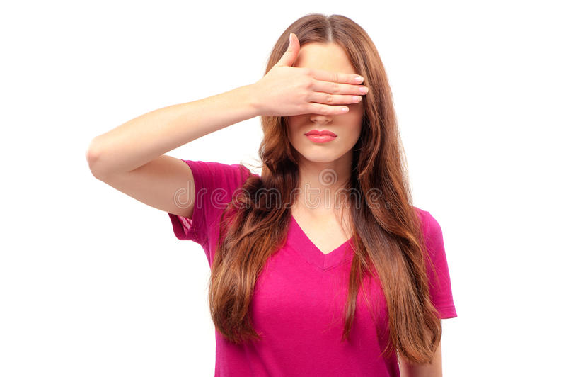 少妇覆盖物眼睛用手, 库存图片