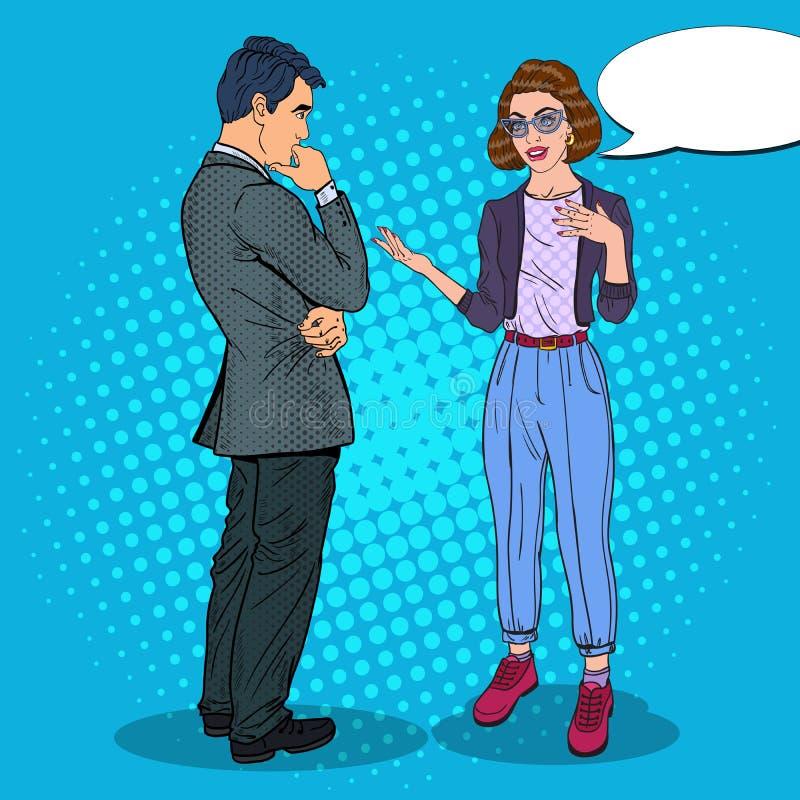 少妇谈话与人 企业生意人cmputer服务台膝上型计算机会议微笑的联系与使用妇女 流行艺术例证 皇族释放例证