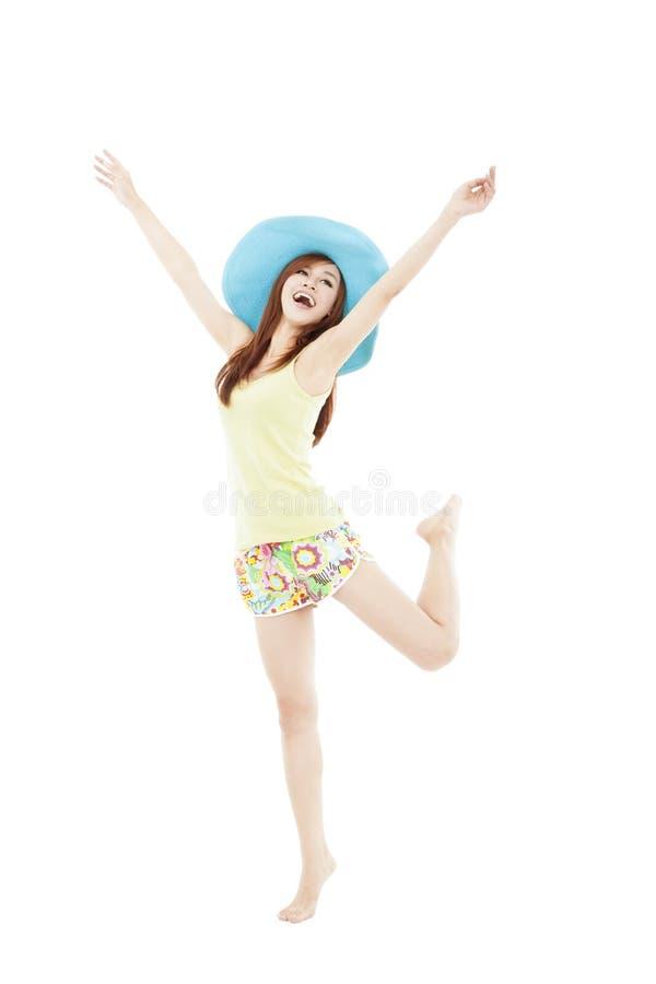 少妇跳舞在夏天在假期时 图库摄影