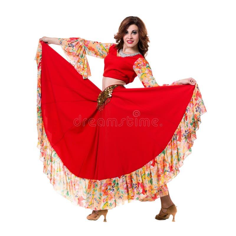 少妇跳舞,隔绝在白色的充分的身体 免版税图库摄影