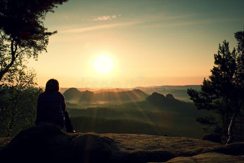 少妇远足者采取在山峰顶的休息轰鸣声树并且享受秋天破晓 免版税图库摄影