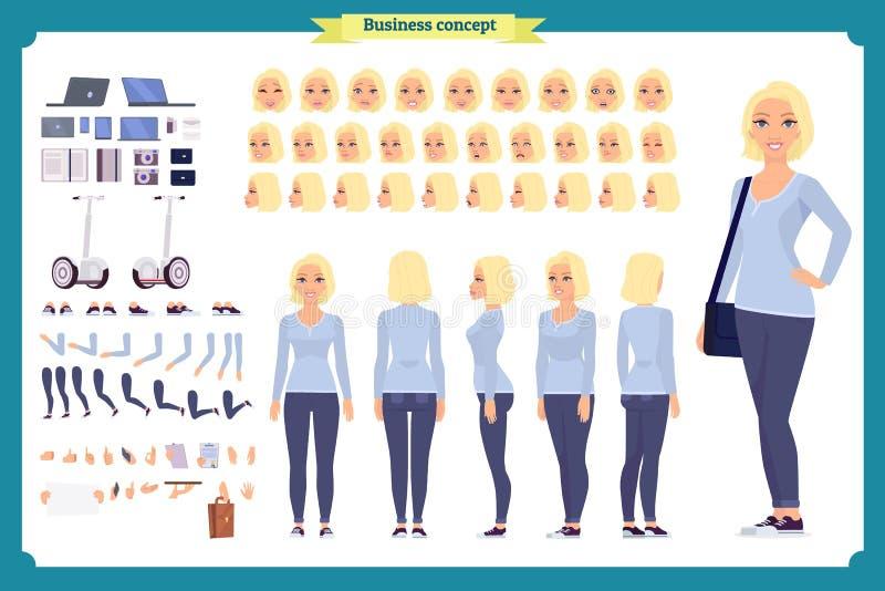 少妇,便衣 字符创作集合 全长,不同的看法,情感,姿态,被隔绝 设计 向量例证